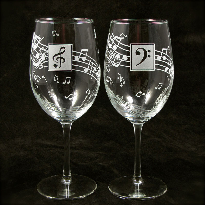 Music Wine Glasses, Personalized Gift for Music Lover, Musician Present - product images  of