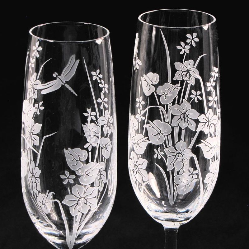 Tropical Flowers Toasting Flutes Tropical Themed Wedding The