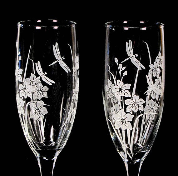 personalized wedding champagne flutes dragonfly orchid engraved