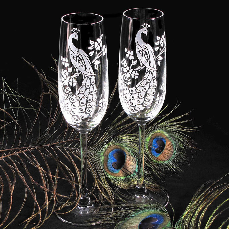 Peacock Champagne Glasses, Engraved Crystal Champagne Flutes - product images  of