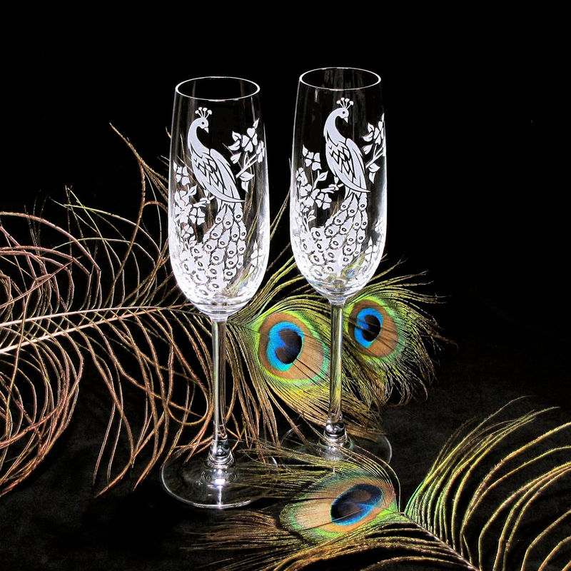 2 Crystal Champagne Flutes, Peacock Wedding Toasting Flutes, Personalized - product images  of