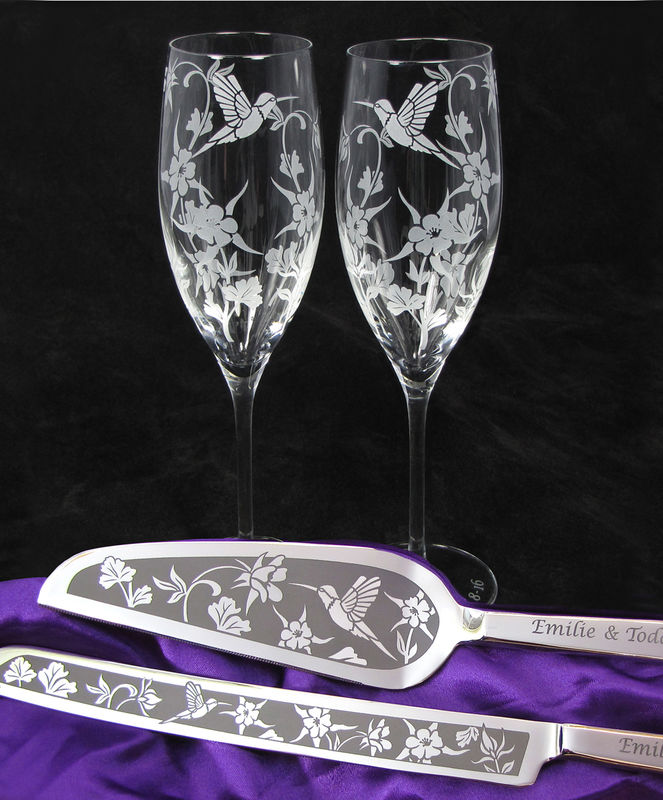 Personalized Hummingbird Wildflower Themed Wedding Cake Server And Champagne Flute Set