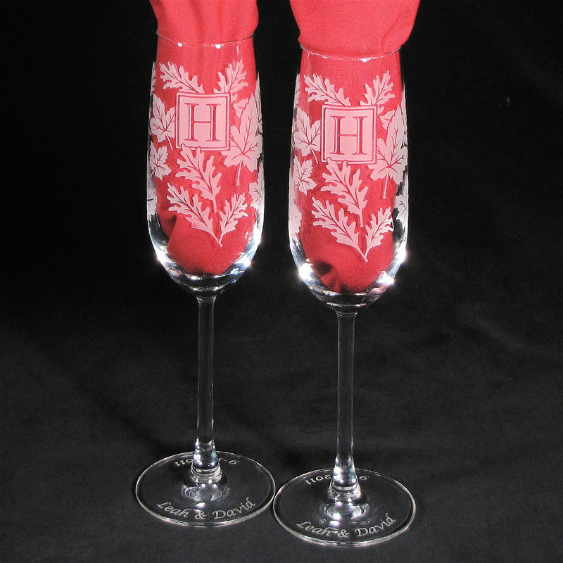 Monogrammed Champagne Flutes, Autumn Wedding, Personalised - product images  of