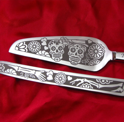 Day,of,the,Dead,Wedding,Cake,Server,and,Knife,Set,,Personalized,Sugar,Skull,Gift,Calavera, sugar skull wedding cake server set, dia de los muertos wedding, day of the dead wedding, day of the dead cake serving sets, Sugar skull cake knife