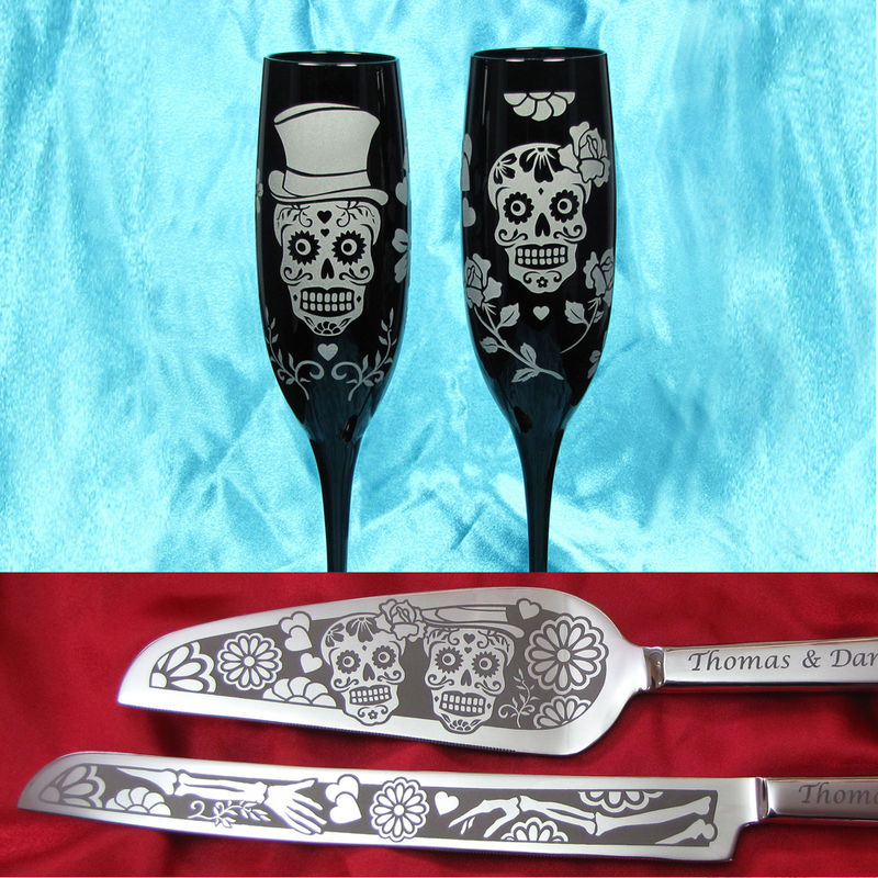 Sugar Skull Wedding Cake Server Set and Champagne Glasses, Day of the Dead - product images  of