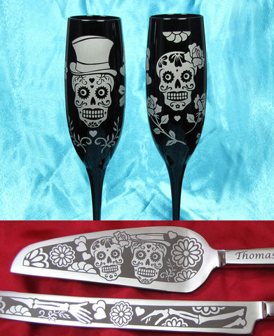 Sugar,Skull,Wedding,Cake,Server,Set,and,Champagne,Glasses,,Day,of,the,Dead,wedding knife and flute set, Personalized, Sugar Skull Wedding Cake Server,  Champagne Flutes, Dia De Los Muertos Wedding