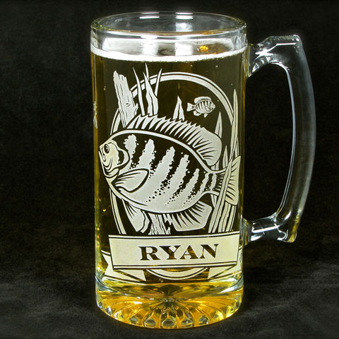Personalized,Bluegill,Fish,Beer,Stein,,Etched,Glass,Gift,for,Men,,Groomsmen,Gifts,personalized gifts, Personalized Beer stein, beer mug, Bluegill, Fish, etched glass, gift for groomsmen, groomsmen gift, beer glass