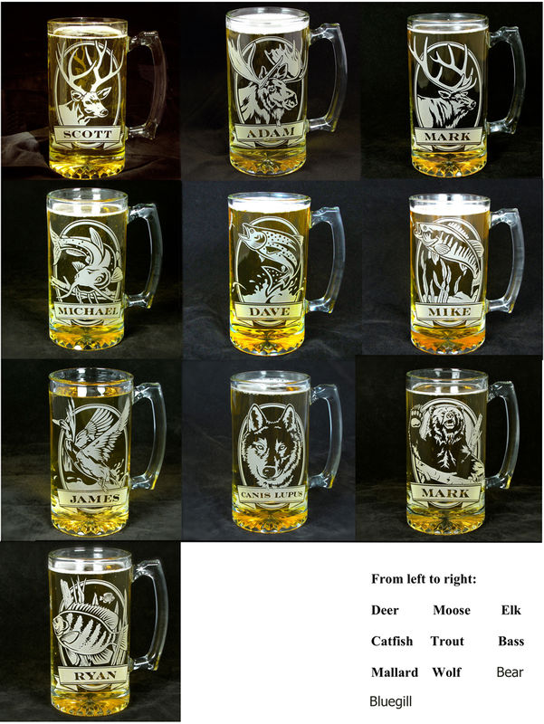 2 personalized fish beer steins  etched glass trout and bass  gift for anglers    fisherman