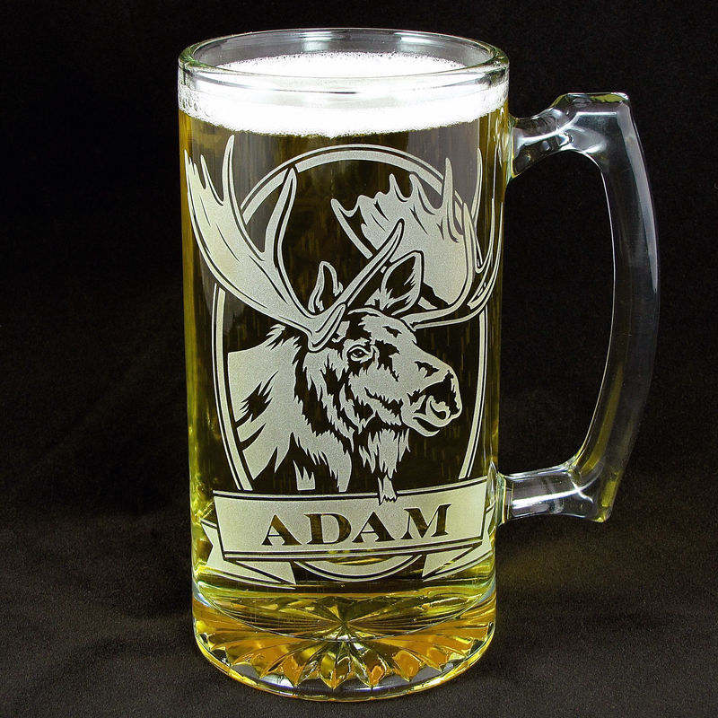 2 Personalized Moose Beer Mugs Etched Glass Wildlife Gift