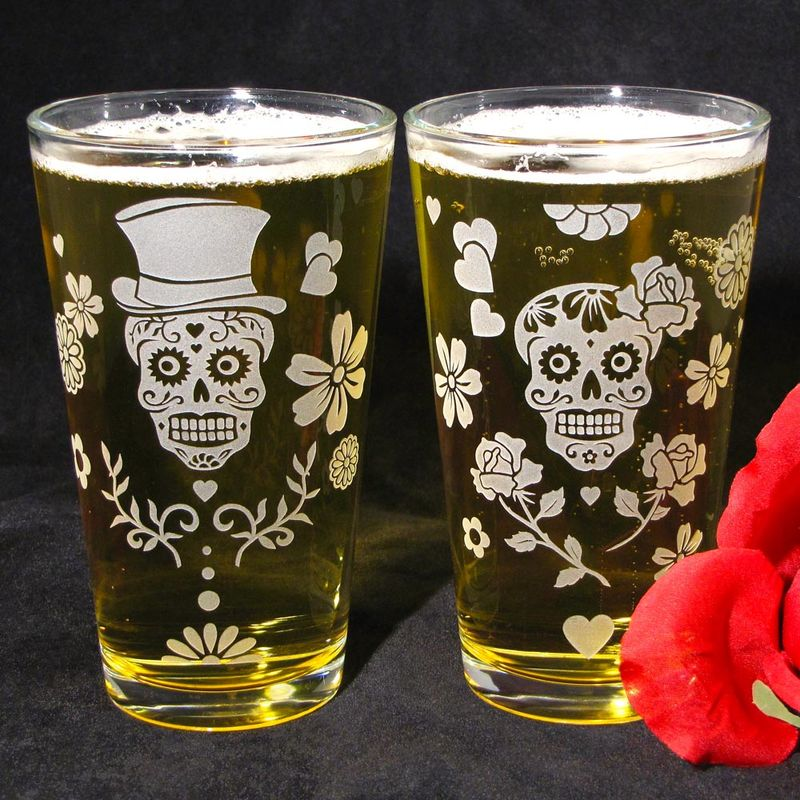 2 Sugar Skull Drinking Glasses, Day of the Dead Pint Glasses, Etched Glass - product images
