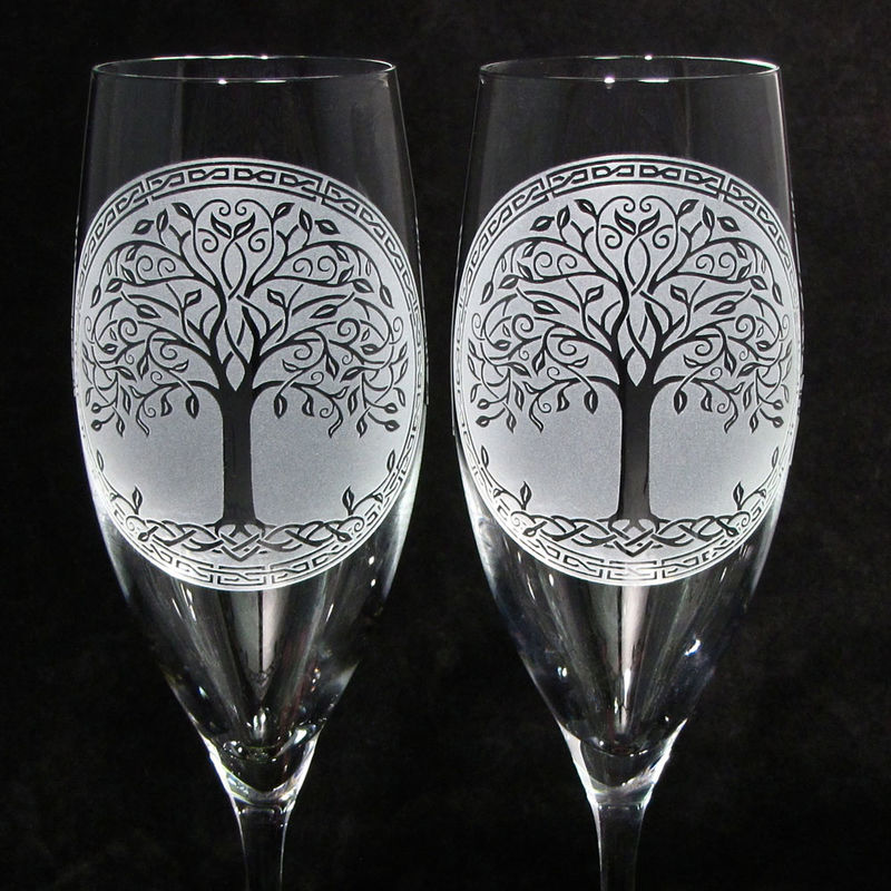 Celtic Tree of Life Champagne Glasses, Irish Wedding Gifts for Couple - product images  of