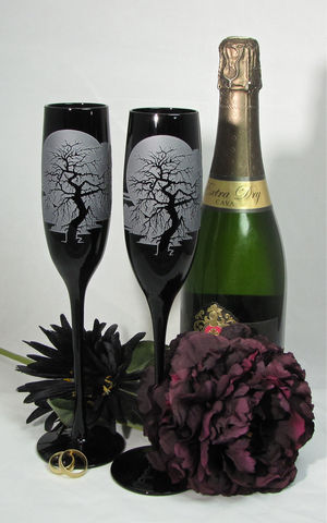 Black,Champagne,Flutes,,Wedding,Glasses,With,Spooky,Gothic,Enchanted,Forest,Tree,Black Champagne Flutes, Wedding Glasses With Spooky Gothic Enchanted Forest Tree, toasting flutes, Personalized