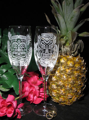 Tropical,Tiki,Themed,Toasting,Flutes,,Hawaiian,Wedding,Champagne,Glasses,tiki, Hawaii, Hawaiian, tropical themed wedding, Weddings,fine crystal,engraved,toasting_flutes,champagne_flutes,champagne_glasses,tropical_beach,beach_wedding,wedding_toasting,clear_crystal_champagne_flutes