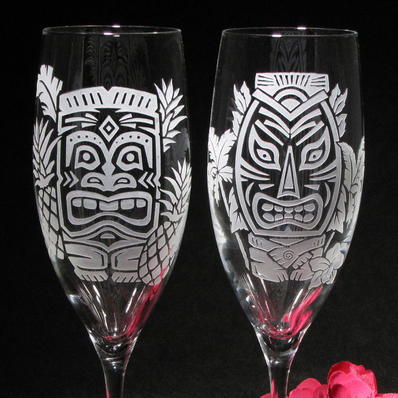 Tropical Tiki Themed Toasting Flutes, Hawaiian Wedding Champagne Glasses - product images  of