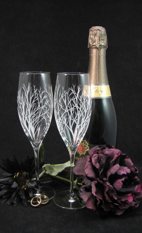 Tree Branch Fine Crystal Champagne Flutes Enchanted Forest Engraved
