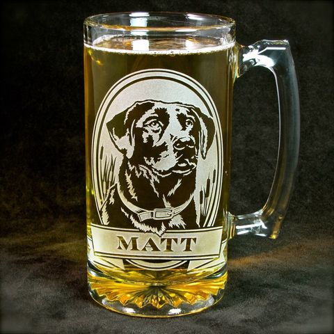 1,Personalized,Labrador,Retriever,Beer,Mug,,Etched,Glass,Stein,for,Dog,Lovers,Pit Bull, Labrador Retriever, Boxer, Doberman Pincher, personalized gifts, Personalized Beer stein, beer mug, etched glass, gift for groomsmen, groomsmen gift, beer glass, boxer dog