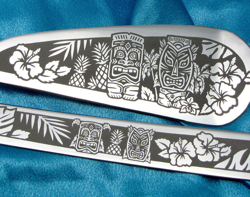 Tiki Themed Wedding Cake Server and Knife Set, Hawaiian Wedding, Personalized - product images  of