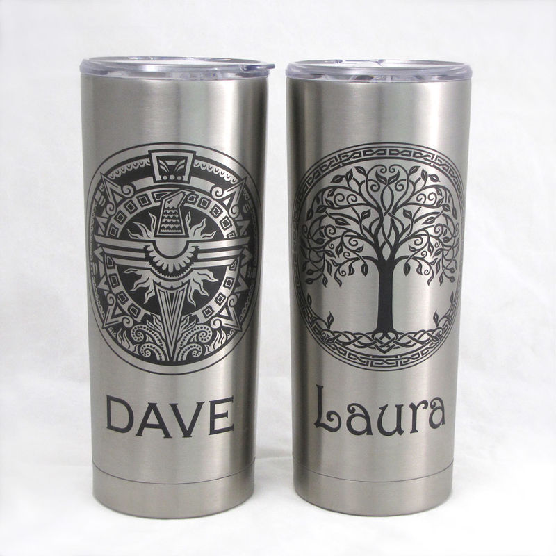 2 Personalized Insulated Cups Stainless Steel Hot Cold Tumblers Gift For Couple