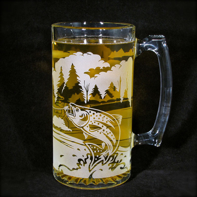 Etched Glass Beer Mug, Fly Fisherman with Trout, Gift for Angler - product images  of