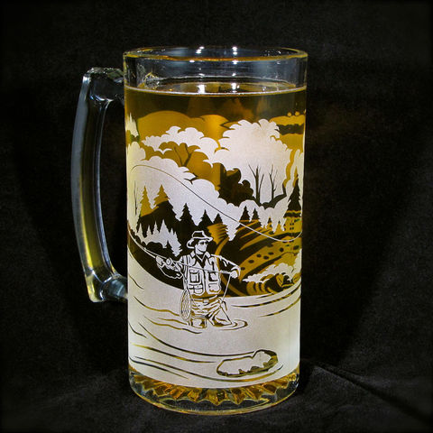 Etched,Glass,Beer,Mug,,Fly,Fisherman,with,Trout,,Gift,for,Angler,Fly Fisherman, Angler, Trout, Groomsmen gift ideas, brad goodell, groomsmen gifts, groomsmen beer steins, bradgoodell, woodland wedding, rustic wedding, beer mug, beer stein, best man gift