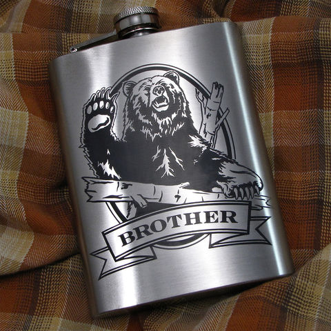 Personalized,Grizzly,Bear,Hip,Flask,,Gift,Idea,for,Man,,Birthday,Present,Men,Grizzly Bear, Personalized Hip Flask with Engraved Gift for Man, Gift for Groomsman, gift for man, dad, fathers day