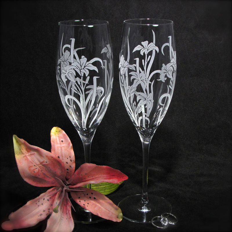 2 Personalized Champagne Flutes Stargazer Lily Wedding Gift For Bride And Groom