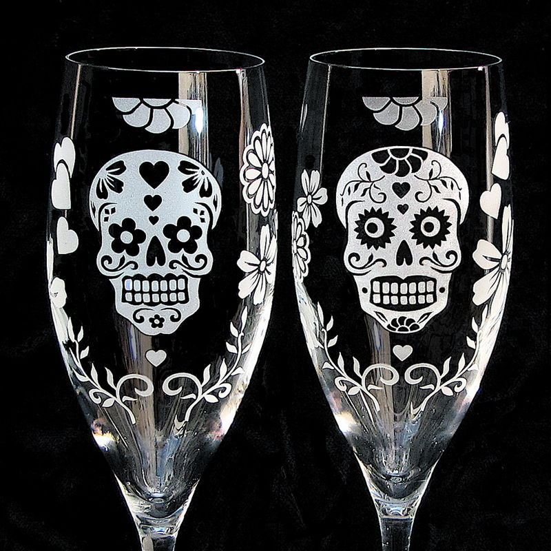 Day of the Dead Champagne Glasses with Sugar Skulls, Dia De Los Muertos Wedding Flutes - product images  of