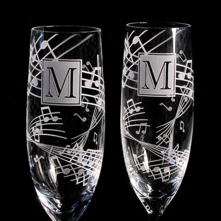 2 music themed wedding  personalized champagne flutes  music note wedding champagne glasses