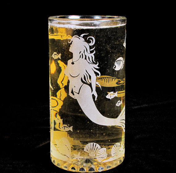 Mermaid Beer Stein Etched Glass Mermaid And Underwater
