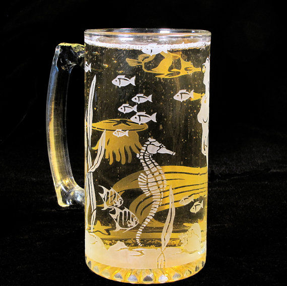 mermaid beer stein  etched glass mermaid and underwater scene  beach wedding gifts for groomsmen