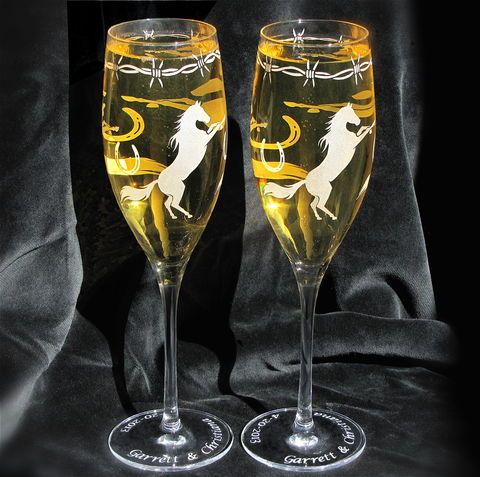 Personalized,Cowboy,Wedding,Champagne,Flutes,,Western,Horse,Themed,Personalized Cowboy Wedding Champagne Flutes, Horse themed Wedding Flutes, western wedding, rustic wedding, toasting flutes, champagne glasses