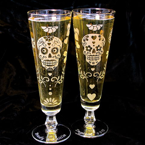 Personalized,Sugar,Skull,Pilsner,Flutes,,Day,of,the,Dead,Beer,Glasses,sugar skull, pilsner flutes, beer flutes, fluted pilsner, day of the dead, dia de los muertos, beer glass, personalized wedding glass