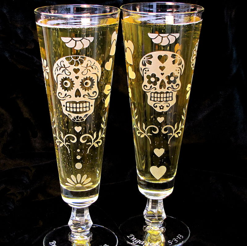 Sugar Skull wedding Decor, Day of the Dead Wedding Flutes, Beer Glasses - product images  of