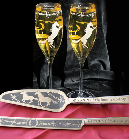 Personalized,Horse,Themed,Wedding,Cake,Server,and,Champagne,Flutes,,Country,Western,Personalized Horse Themed Wedding Cake Server & Champagne Flutes, Country Western Wedding
