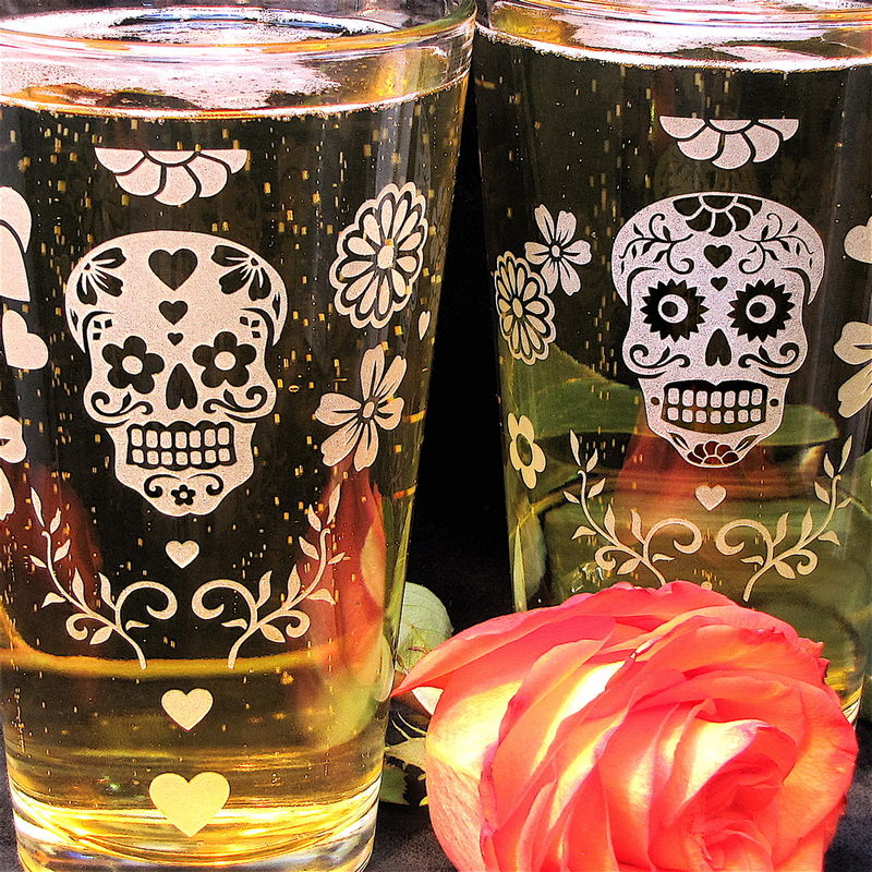 2 Sugar Skull Pint Glasses, Dia De Muertos Beer Glasses, Etched Glass - product images  of