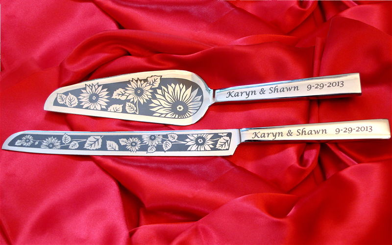Personalized Sunflower Wedding Cake Server & Champagne Flute Set - product images  of