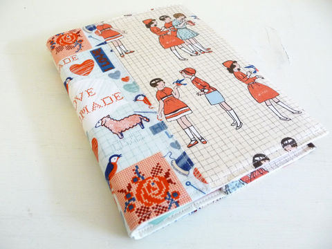 I,Love,Handmade,Fabric,Covered,Journal,handmade journal cover, fabric journal cover, i love handmade, slip on cover for journal, book cover