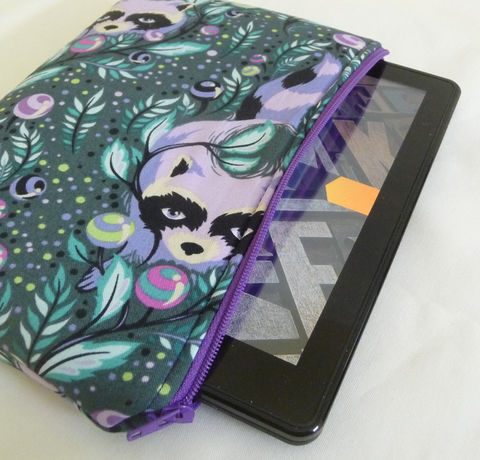 Purple,Raccoon,Kindle,Fire,Sleeve,original kindle fire case, kindle fire sleeve, handmade kindle fire pouch, padded kindle fire sleeve, zippered case, raccoons, purple raccoons