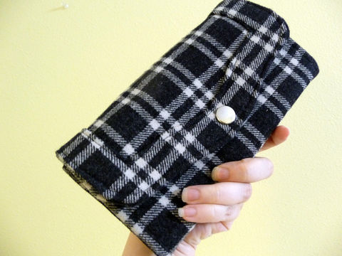 Black,Plaid,Wool,Clutch,Wallet,clutch wallet, black plaid wallet, handmade wool wallet, womens wallet, plaid wool clutch wallet, handmade ladies wallet