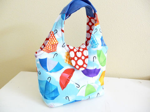 Cute,Umbrella,Print,Handbag,,Small,Purse,umbrella print handbag, small womens handbag, handmade bag, handmade cotton handbag, fun cotton print handbag, rainy day umbrella purse, small handbag purse, fun cotton print purse
