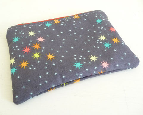 Colorful,Little,Stars,Zippered,Pouch,zippered pouch, small zip bag, small makeup bag, small cosmetics bag, toiletry bag, star print pouch, color stars bag, gadget pouch