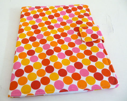 Bright,Polka,Dot,iPad,2,Cover,,Soft,Book,Style,cotton ipad 2 cover, vegan ipad 2 cover, clearance ipad 2 cover, polka dot ipad 2 cover, handmade ipad 3 case, polka dot print ipad 3 cover, womens ipad case, bright ipad cover