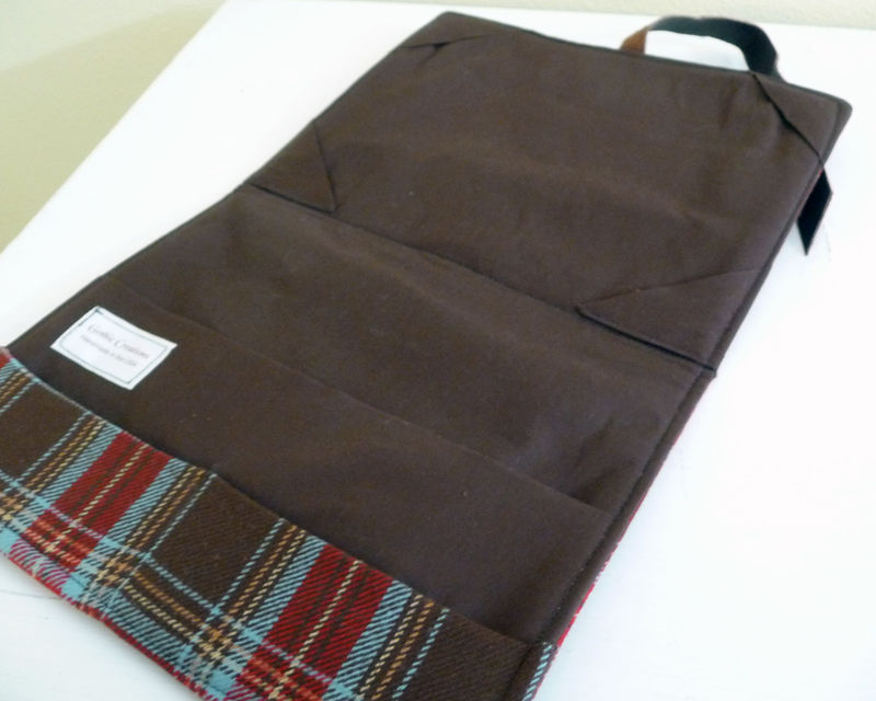 Brown Plaid Wool and Leather iPad 2 Cover - product images  of