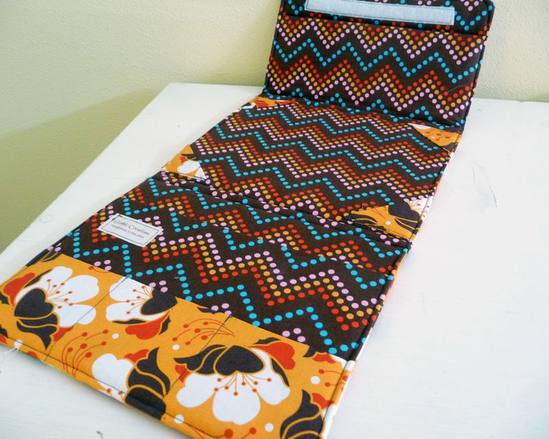 Orange and Brown Floral Standing iPad Case - product images  of