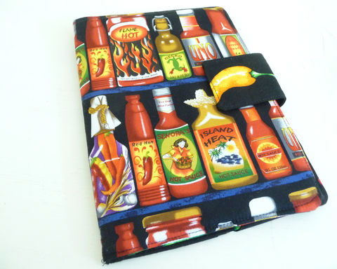 Hot,Sauces,Kindle,Fire,or,Keyboard,Cover,handmade kindle 3 cover, hot sauce kindle fire cover, hot sauce kindle 3 cover, hot sauce kindle keyboard cover, novelty mens kindle cover, handmade kindle 3 cover