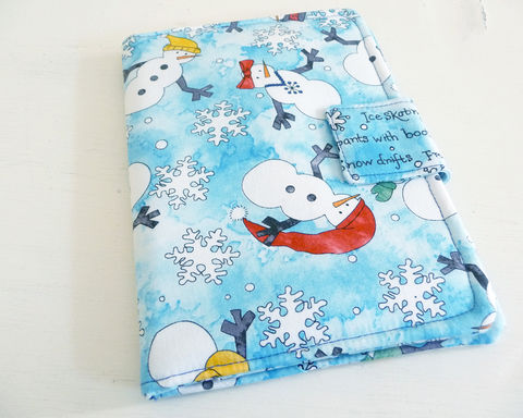 Winter,Snowmen,Kindle,4,or,5,,Voyage,,Kobo,Touch,Cover,kindle voyage cover, kobo touch cover, kindle 5 cover, kobo touch case, handmade kindle cover, winter kindle 4 cover, snowmen kobo touch cover, winter snowmen,