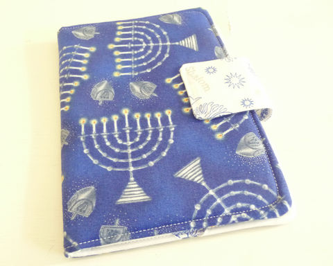 Hanukkah,Cotton,Print,Kindle,4,or,5,,Voyage,Cover,kindle voyage cover, kobo touch cover, kindle 5 cover, kobo touch case, handmade kindle cover, hanukkah kindle cover