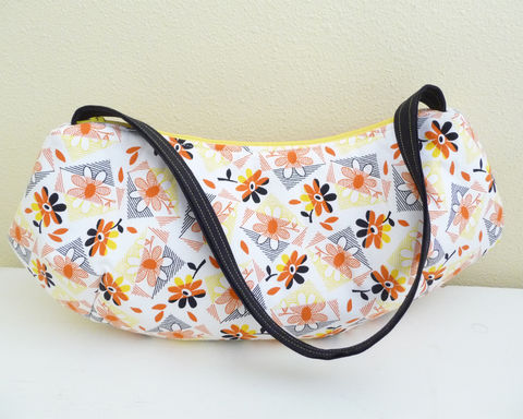 Retro,Style,Floral,Print,Cotton,Shoulder,Bag,retro floral shoulder bag, handmade floral print bag, handmade flower purse, retro flower print handbag, reproduction cotton print shoulder bag, yellow and orange floral purse, handmade cotton print purse, 1930's reproduction print cotton purse