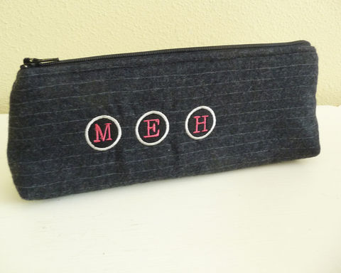 Meh,Embroidered,Pinstripe,Wool,Pencil,Pouch,,Long,Zip,Bag,meh pencil pouch, funny pencil case, modern humor, long zip bag, pinstripe wool pencil pouch