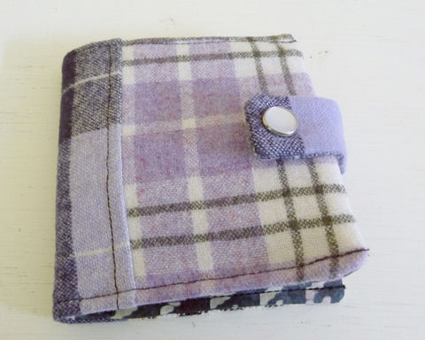 Lavender,Patchwork,Wool,Bifold,Wallet,wool bifold wallet, handmade wallet, plaid wool wallet, patchwork bifold wallet, lenver plaid wool wallet
